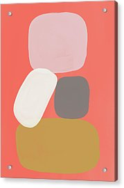 Acrylic Print featuring the mixed media Coral Stones 3- Art By Linda Woods by Linda Woods