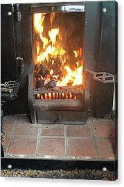 Cosy Winter Fire Acrylic Print
