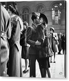 Couple In Penn Station Sharing Farewell Acrylic Print by Alfred Eisenstaedt