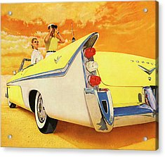 Couple In Yellow Convertible Acrylic Print by Graphicaartis