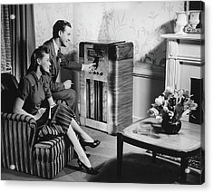 Couple Listening To Radio In Living Acrylic Print by George Marks