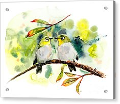 Couple Of Little Green Birdies Acrylic Print