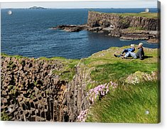 Couple Relaxing In Grass On Cliff Acrylic Print