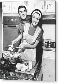 Couple Standing In Kitchen, Smiling, B&w Acrylic Print by George Marks