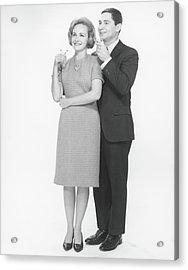 Couple Toasting Champagne In Studio, B&w Acrylic Print