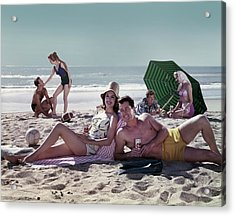 Couples On The Beach Acrylic Print by Tom Kelley Archive