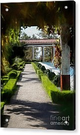 Painted Texture Courtyard Landscape Getty Villa California  Acrylic Print
