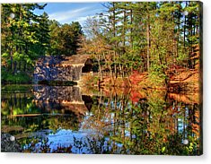 Acrylic Print featuring the photograph Covered Bridge In Autumn - Dummerston Covered Bridge by Joann Vitali