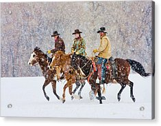 Cowboys And Cowgirl Riding Snowfall Acrylic Print by Danita Delimont