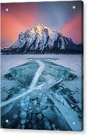 Cracked / Abraham Lake, Canada  Acrylic Print