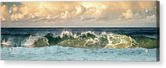 Crashing Waves And Cloudy Sky Acrylic Print