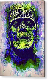Acrylic Print featuring the mixed media Frankenstein Watercolor by Al Matra
