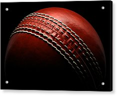Cricket Ball On Black Background Acrylic Print