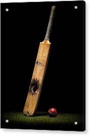 Cricket Bat With Hole And Ball Acrylic Print