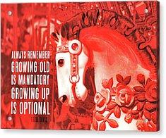 Crimson Carousel Quote Acrylic Print