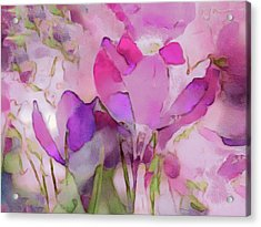 Acrylic Print featuring the mixed media Crocus So Pink by Susan Maxwell Schmidt