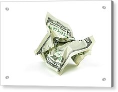 Crumpled Money With Clipping Path Acrylic Print by Georgepeters