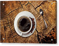 Cup Of Coffe On Wood Acrylic Print