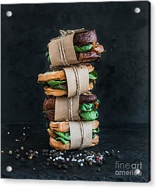 Cured Chicken And Spinach Whole Grain Acrylic Print