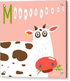 Curious Stupid Cow Eating Grass With Acrylic Print