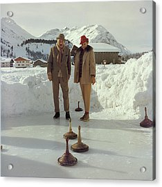 Curling Acrylic Print by Slim Aarons