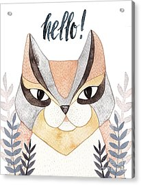 Cute Abstract Cat. Pastel Acrylic Print