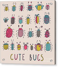 Cute Bugs. Cartoon Insects In Vector Set Acrylic Print by Smilewithjul