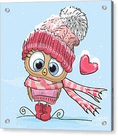 Cute Cartoon Owl In A Hat And Scarf Acrylic Print