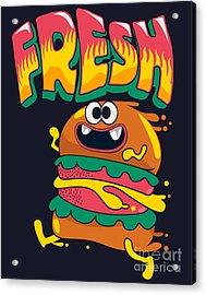 Cute Hamburger Is Running, Vector Acrylic Print