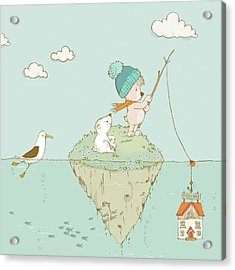 Acrylic Print featuring the painting Cute Little Bear Goes Fishing by Matthias Hauser
