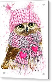 Cute Owl Watercolor Illustration For Acrylic Print