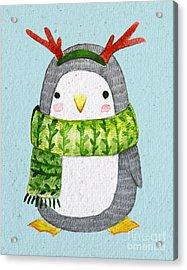 Cute Penguin In Scarf. Watercolor Acrylic Print