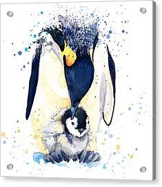 Cute Penguin. Watercolor Illustration Acrylic Print