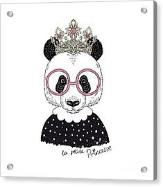Cute Portrait Of Panda Princess, Hand Acrylic Print by Olga angelloz