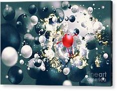 Cute Red Ball Raising Arms Amongst Acrylic Print