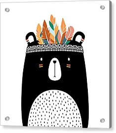 Cute Tribal Bear - Boho Chic Ethnic Nursery Art Poster Print Acrylic Print