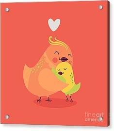 Cute Vector Cartoon Decorative Birds Acrylic Print by Mascha Tace