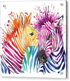 Cute Zebra. Watercolor Illustration Acrylic Print by Faenkova Elena