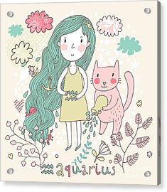 Cute Zodiac Sign - Aquarius. Vector Acrylic Print