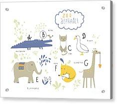 Cute Zoo Alphabet In Vector . A, B, C Acrylic Print