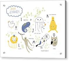 Cute Zoo Alphabet In Vector .  H, I, J Acrylic Print