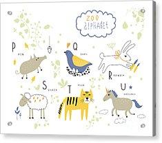 Cute Zoo Alphabet In Vector . P, Q, R Acrylic Print