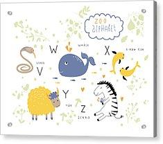 Cute Zoo Alphabet In Vector . V, W, X Acrylic Print