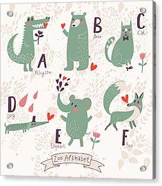 Cute Zoo Alphabet In Vector. A, B, C Acrylic Print
