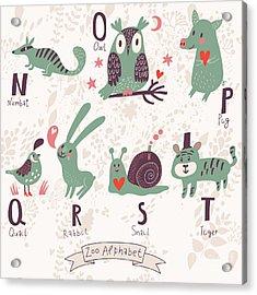 Cute Zoo Alphabet In Vector. N, O, P Acrylic Print