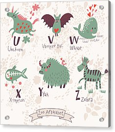 Cute Zoo Alphabet In Vector. U, V, W Acrylic Print