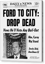 Daily News Front Page October 30, 1975 Acrylic Print