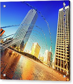 Dallas Downtown, Water Games In A Acrylic Print