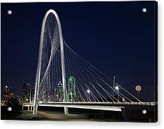 Dallas' Suspension Bridge At Night Acrylic Print by Dhughes9