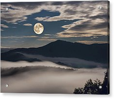Dance Of Clouds And Moon Acrylic Print
